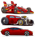 cartoon red modern sport and retro vintage cars vector image vector image
