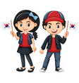 children holding flag of south korea vector image vector image