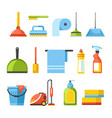 cleaning tools isolated icons brushes and vector image
