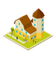 condominium apartment house isometric and people vector image vector image