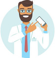 doctor pointing on smartphone vector image vector image