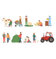 farmers working man and woman harvesting people vector image vector image