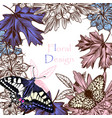 floral background with butterflies and flowers vector image vector image