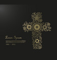funeral template with flower cross and place for vector image vector image