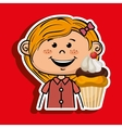 girl cup cake dessert vector image vector image