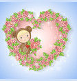 girl in suit a teddy bear with a rose vector image