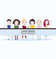 group young modern women in trendy clothes vector image