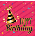happy birthday party hat pink background im vector image