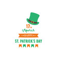 happy st patrick day banner with leprechaun hat vector image