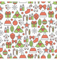 holiday christmas and new year line seamless vector image