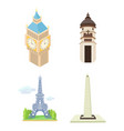 hystorical tower icon set cartoon style vector image