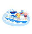 loving couple relaxing on luxury yacht at ocean on vector image vector image