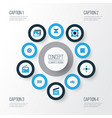 multimedia colorful icons set collection of arrow
