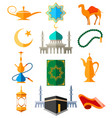 muslim arabic colorful icons vector image vector image