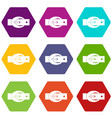 oval belt buckle icon set color hexahedron vector image vector image