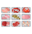 packages with fresh meat seafood chicken set vector image