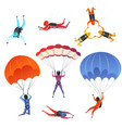 parachute jumpers extreme sport skydiving vector image