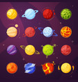 planets in outer space cartoon vector image vector image