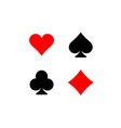 Playing card suits signs set Four card symbols vector image
