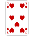 Poker playing card 7 heart vector image