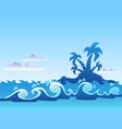 seascape with palm island and waves vector image