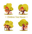 set isolated houses for children on trees vector image vector image