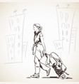 sketch woman walking with bag on wheels hand vector image