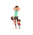 smiling kids want to play with their tired mother vector image vector image