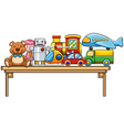 Toys and table vector image vector image