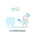 treats tooth with a syringe vector image vector image