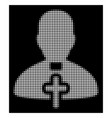 white halftone catholic priest icon vector image