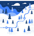 winter skiing slope map snow forest trail walking vector image vector image