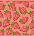 strawberries seamless pattern with pink vector image