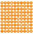 100 startup icons set orange vector image vector image