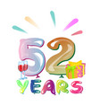 52 years anniversary celebration greeting card vector image vector image