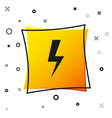 black lightning bolt icon isolated on white vector image vector image