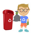 boy throwing trash bag in recycle bin vector image