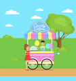candy cotton shop poster vector image vector image