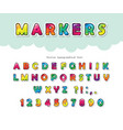cartoon bright font for kids glossy abc letters vector image