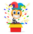 cheerful smiley in a clown hat jumped out of the vector image