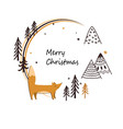 christmas stylish card with cute fox doodle vector image