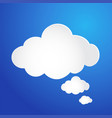 cloud bubble icon on blue background stock vector image vector image