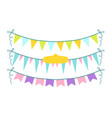 colorful garlands set party flags on rope vector image vector image