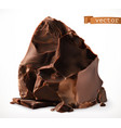dark chocolate pieces 3d realistic icon vector image