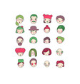 different faces hand drawing isolated objects vector image vector image
