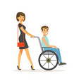 disabled young man in wheelchair smiling female vector image vector image