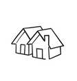 doodle house icon with hand drawn cartoon style vector image vector image