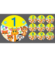 figures 1 to 10 in a circle with animals vector image
