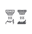 fire detector line and glyph icon alarm and vector image vector image