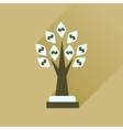 Flat icon with long shadow Money Tree vector image vector image